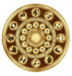 zodiac signs gear mechanism vector image