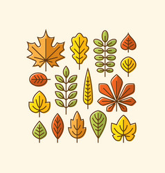 colorful autumn leaves icons set vector image vector image