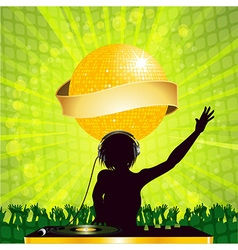 female DJ with disco ball and banner vector image vector image