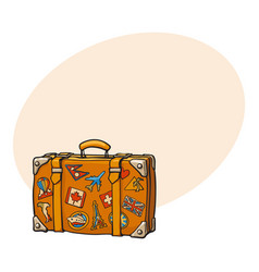 hand drawn retro style travel suitcase with vector image vector image