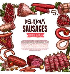 sausage beef and pork meat delicatessen banner vector image vector image