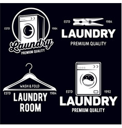 Set of laundry logos emblems and design vector