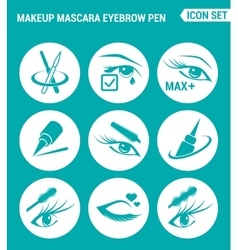 set of round icons white Makeup mascara eyebrow vector image vector image
