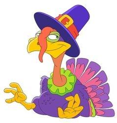 cute happy cartoon turkey vector image