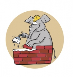 elephant bricklayer vector image vector image