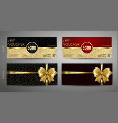 gift voucher set red and gold voucher template vector image