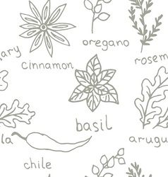 Seamless Doodle patterns herbs vector image vector image