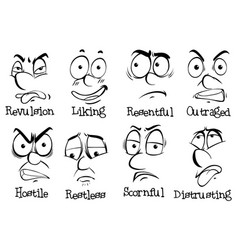 eight different expressions on human faces vector image
