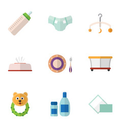flat icon baby set of baby plate tissue feeder vector image vector image