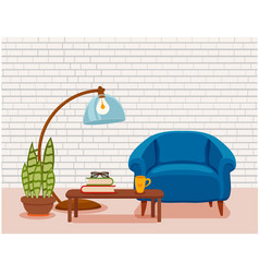 interior with an armchair potted plant vector image vector image