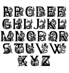 Medieval alphabet with gargoyls and chimeras vector