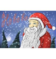 Merry Christmas moon snow Santa Claus Text ho ho vector image