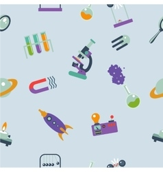 Seamless pattern with cartoon science elements an vector