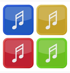 set of four square icons with musical note vector image vector image