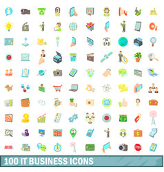 100 it business icons set cartoon style vector image vector image