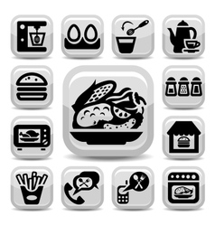 food and kitchen icons vector image vector image