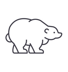 russian bear line icon sign vector image