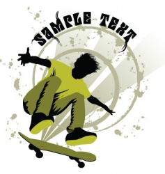 skateboard boy vector image
