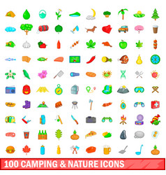 100 camping and nature icons set cartoon style vector