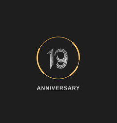 19 anniversary logotype with silver number vector