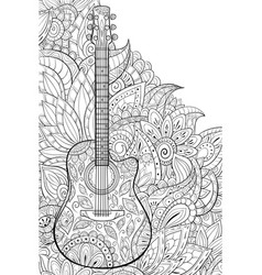 Adult coloring bookpage a cute guitar vector