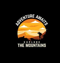 Adventure awaits silhouette design with retro vector