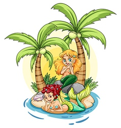 An island with two mermaids vector image