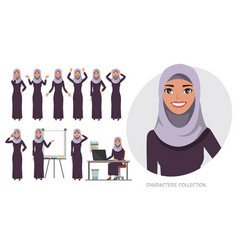 Arabic business womanyoung girl in a cartoon vector