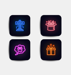 Attraction hat-trick and gift dream icons vector