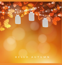 Autumn fall blurred card banner garden party vector