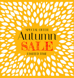 autumn sale background template with leaves vector image