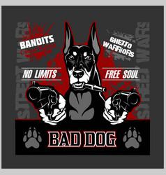 Bad dog - doberman - dog aiming with guns vector