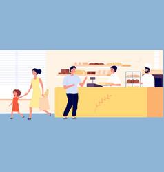 bakery shop small bread store interior woman man vector image