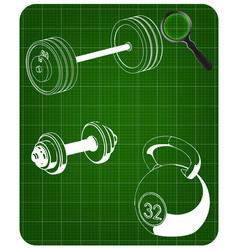 barbell and dumbbell on a green vector image