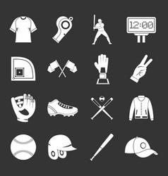Baseball icons set grey vector