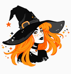 beautiful witch in a classic hat and flowing hair vector image