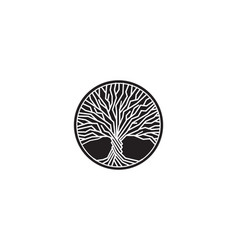 black and white tree isolated logo vector image