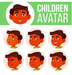 boy avatar set kid indian hindu asian vector image