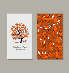 business card design foxy tree vector image