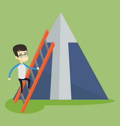 Business man climbing on mountain vector