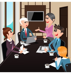 Business Meeting Office Workers with Laptops vector