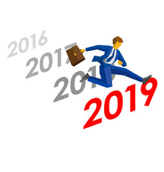 businessman jump over number 2019 vector image