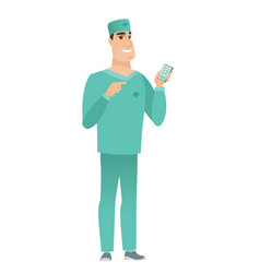 Caucasian doctor holding a mobile phone vector