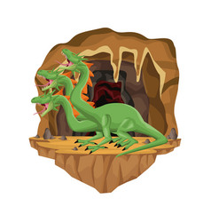 Cave interior scene with hydra mythological vector