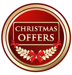 Christmas Offers Gold Emblem vector image