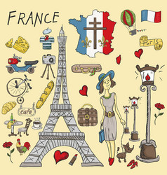 Color travel 1 to europe france symbols and vector