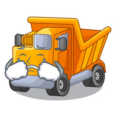 Crying truck on highway road with mascot vector