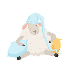 cute sleeping sheep character wearing hat funny vector image