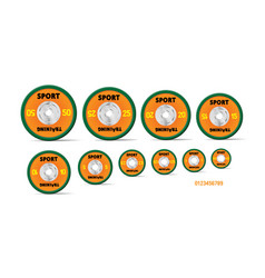 Different orange weight plates numbered weights vector