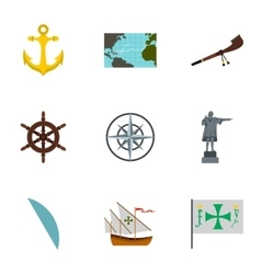 Discovery of America icons set flat style vector image